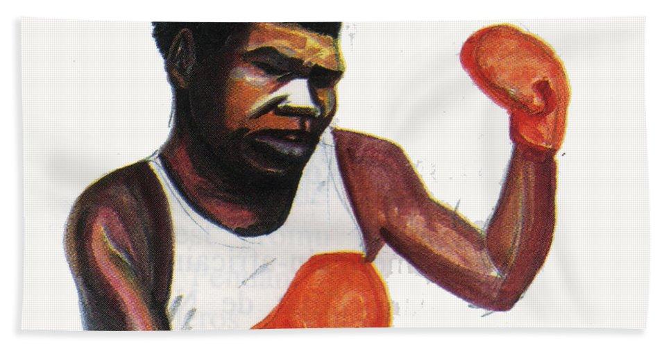 Portraits Beach Towel featuring the painting Battling Siki by Emmanuel Baliyanga