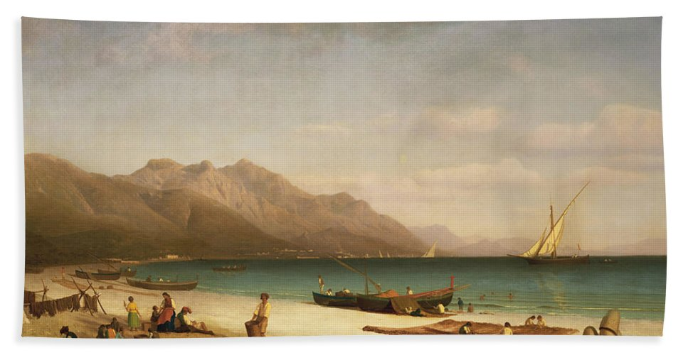 Italian; Coast;coastal; Landscape; Amalfi; Beach; Boat; Fishing; Drying;hanging; Daily Life Scene Beach Towel featuring the painting Bay Of Salerno by Albert Bierstadt