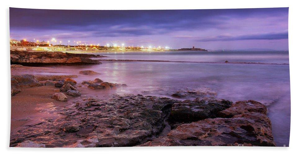 Background Beach Towel featuring the photograph Beach At Dusk by Carlos Caetano