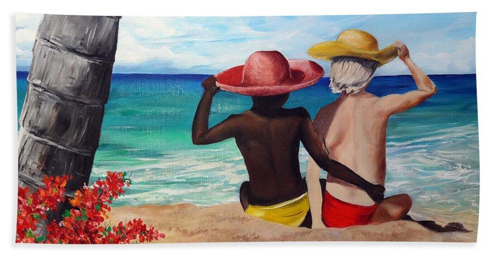 Beach Friends Beach Towel featuring the painting Beach Buddies by Karin Dawn Kelshall- Best