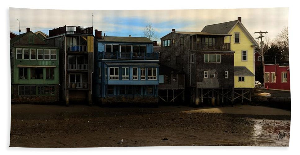 Rockport Beach Towel featuring the photograph Beach Buildings - Greeting Card by Mark Valentine