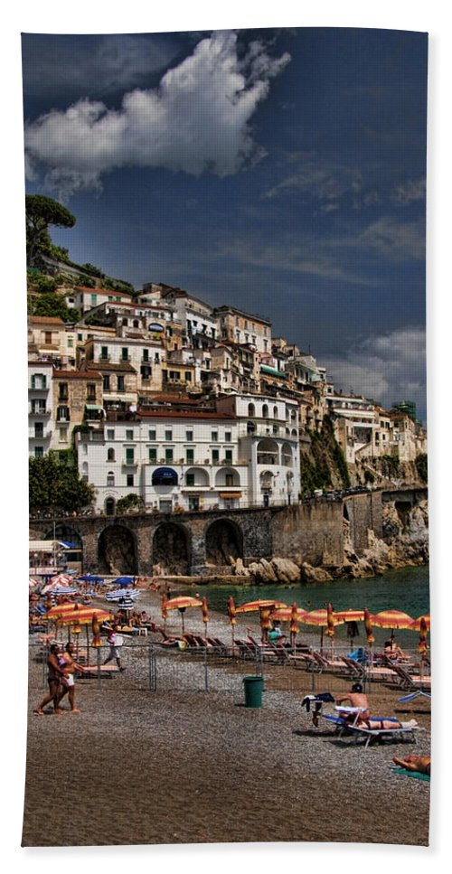 Mediterranean Collection Beach Towel featuring the photograph Beach Scene In Amalfi On The Amalfi Coast In Italy by David Smith