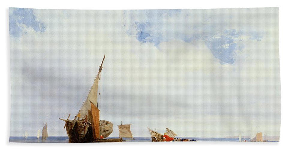 Beached Beach Towel featuring the painting Beached Vessels And A Wagon Near Trouville by Richard Parkes Bonington