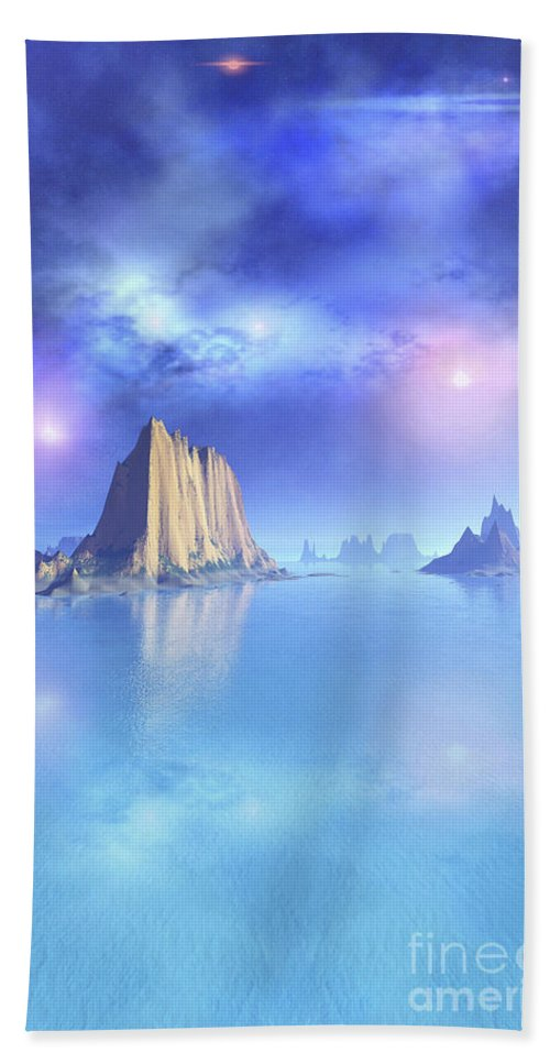 Beach Beach Towel featuring the digital art Beautiful Night Scene Of The Ocean by Corey Ford