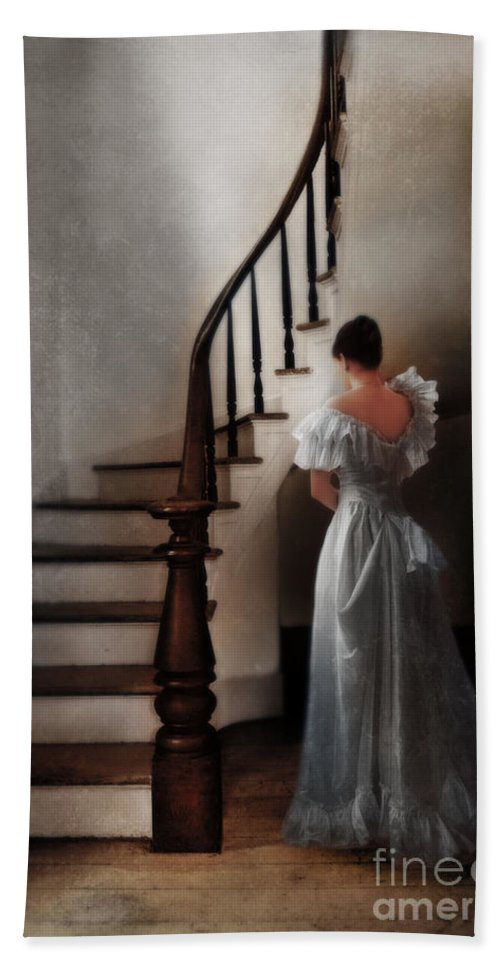 Woman Beach Towel featuring the photograph Beautiful Young Woman Standing In Gown By Stairs by Jill Battaglia