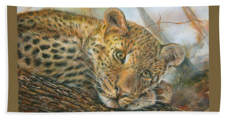 Mammal Beach Towel featuring the painting Beauty Is In The Eye by Penny Golledge