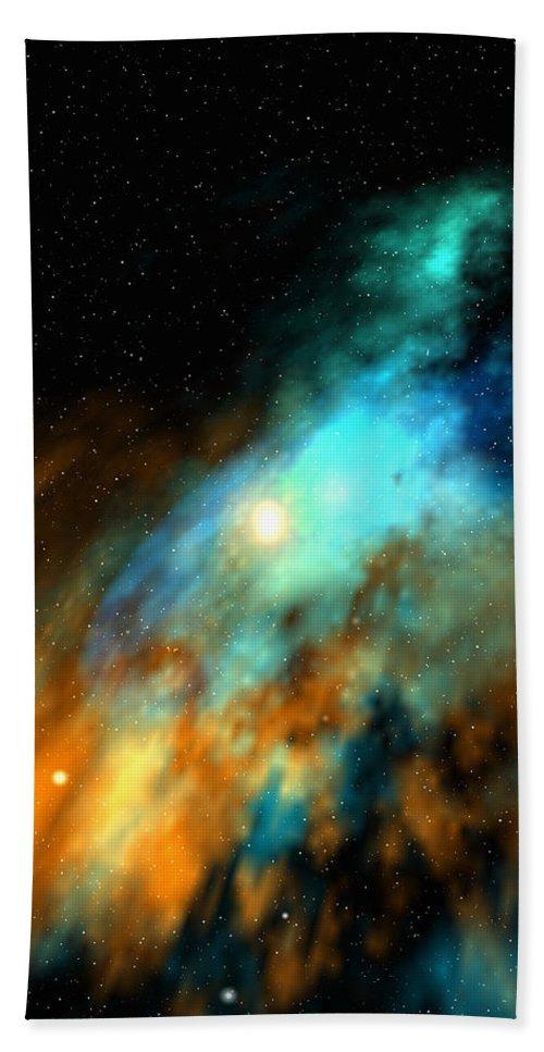 Nebula Space Art Beach Towel featuring the digital art Beducas nebula by Robert aka Bobby Ray Howle