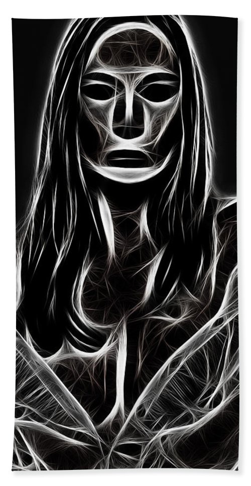 Women Female Painting Abstract Black White Bw Mask Portrait Expressionism Impressionism Beach Towel featuring the digital art Behind A Mask by Steve K