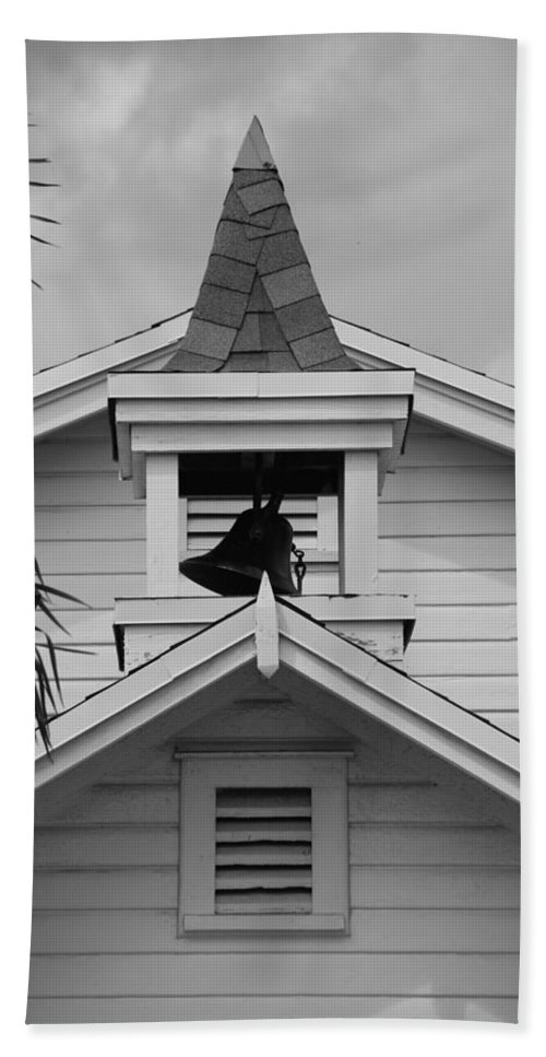 Architecture Beach Towel featuring the photograph Bell Tower In Black And White by Rob Hans