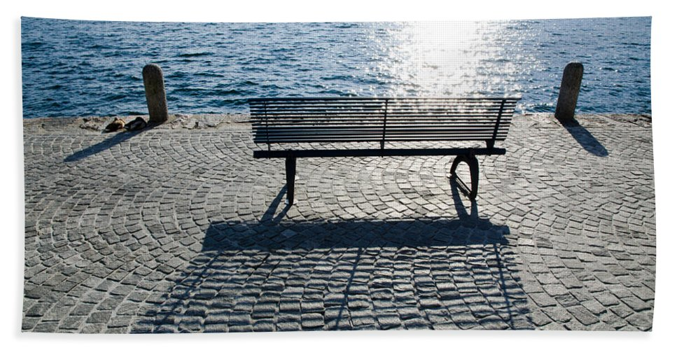 Bench Beach Towel featuring the photograph Bench With Shadow by Mats Silvan