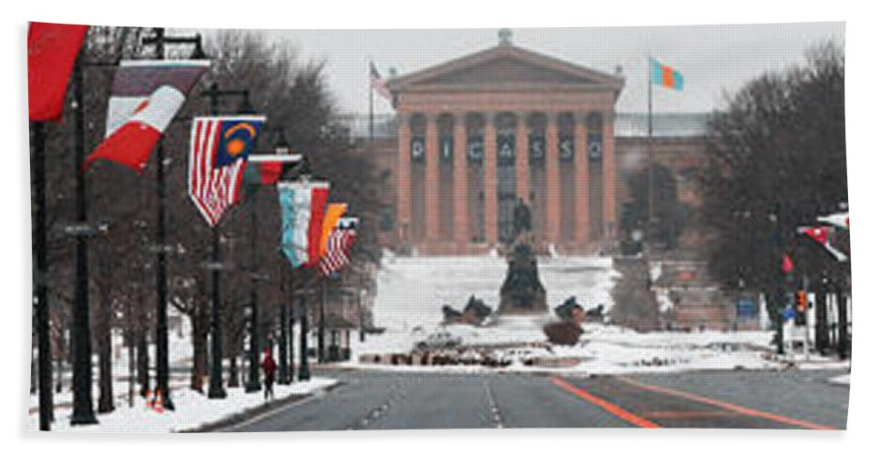Benjamin Franklin Parkway Panorama Beach Towel featuring the photograph Benjamin Franklin Parkway Panorama by Bill Cannon