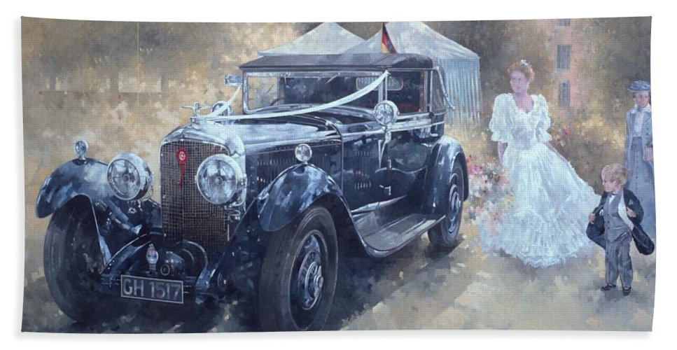 Female; Car; Wedding; Marriage; Dress; Wife; Married; Transport; Automobile; Vintage; Old Timer; Bentley Beach Towel featuring the painting Bentley And Bride by Peter Miller
