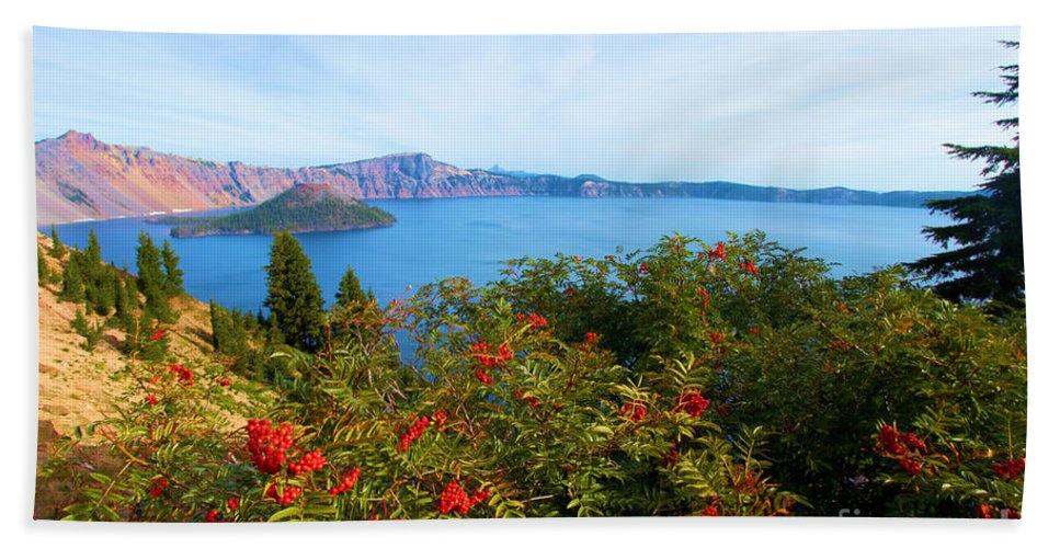Crater Lake National Park Beach Towel featuring the photograph Berries And The Wizard by Adam Jewell