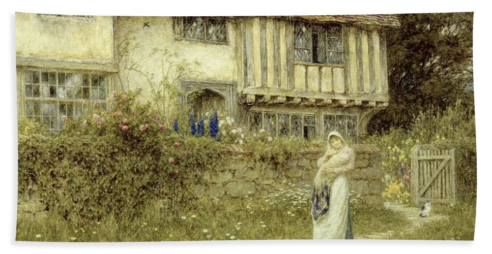 Cottage; Mother And Child; Gate; Rural Scene; Country; Countryside; Timber Frame; Half-timbered; Home; Path; Garden; Wildflowers Picturesque; Idyllic; House; Female Beach Towel featuring the painting Beside The Old Church Gate Farm Smarden Kent by Helen Allingham