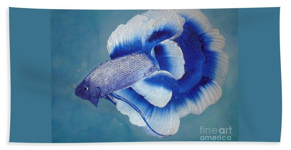 Fish Beach Towel featuring the painting Betta by Debra Markewicz