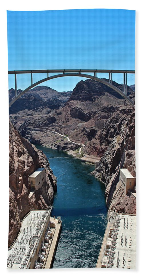 Colorado River Beach Towel featuring the photograph Beyond The Hoover Dam Spillway by Heidi Smith