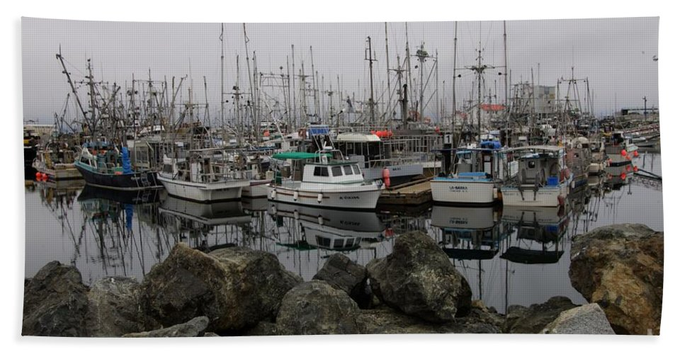 Fishing Boats Beach Towel featuring the photograph Beyond The Stones by Bob Christopher