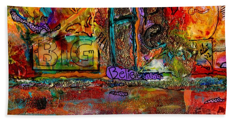 Acrylic Beach Towel featuring the mixed media Big Hope And Dreams by Angela L Walker