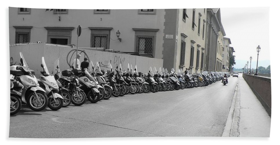 Motorcycles Beach Towel featuring the photograph Bikes by Laurel Best