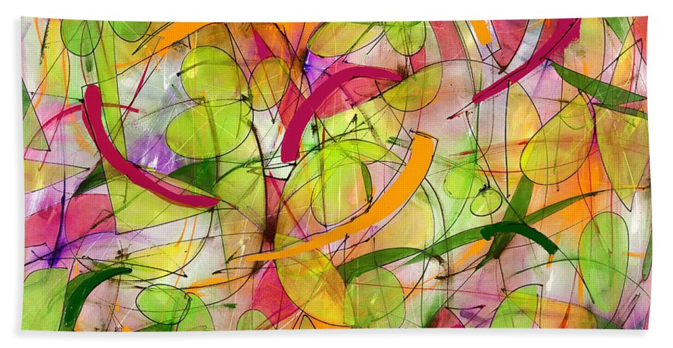 Abstract Beach Towel featuring the painting Bird Song by Lynne Taetzsch