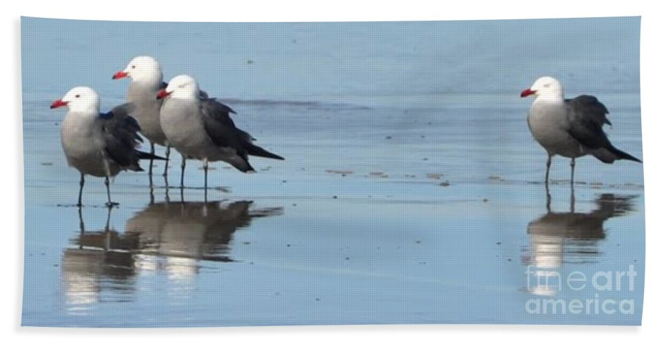 Bird Photos Beach Towel featuring the photograph Birds On The Beach by Saundra Lane Galloway