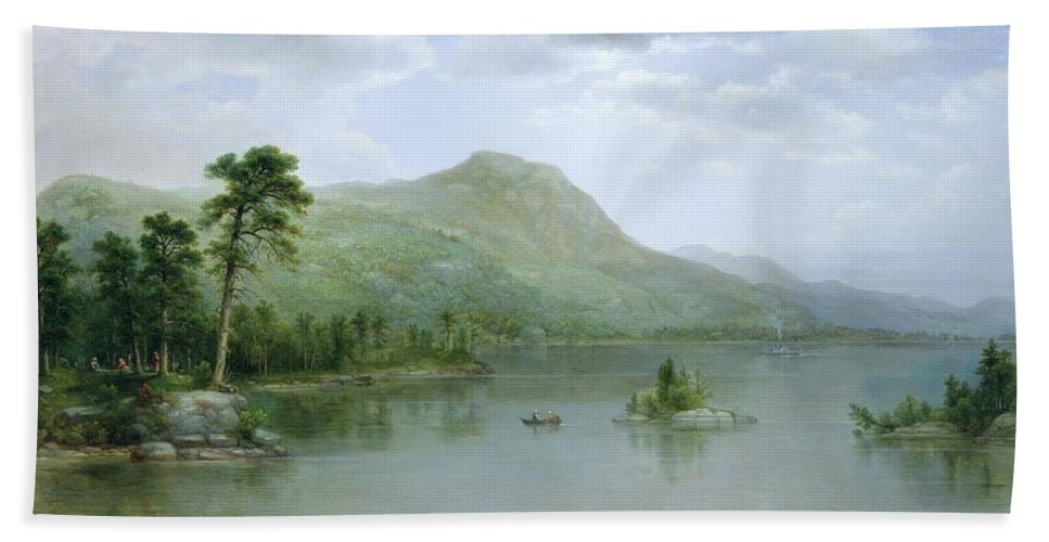 Harbour; American Landscape; View; Island; Rowing Boat; New England; Hudson River School; Beach Towel featuring the painting Black Mountain From The Harbor Islands - Lake George by Asher Brown Durand