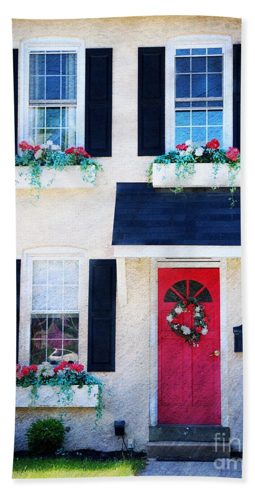 Red Beach Towel featuring the photograph Black Window Shutters With Flowers by Paul Ward