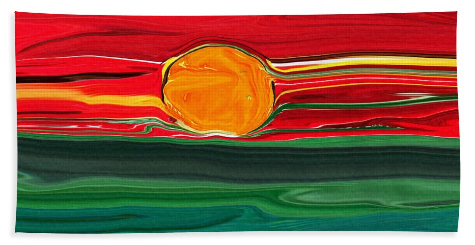 Blazing Beach Towel featuring the painting Blazing Red Sky by Barbara Griffin