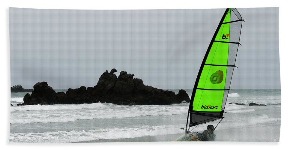 Blokarting Beach Towel featuring the photograph Blokarting In New Zealand by Vivian Christopher