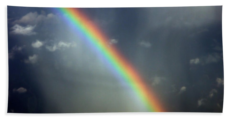 Aviation Photos Beach Towel featuring the photograph Blue A320 Over The Rainbow by Strato ThreeSIXTYFive