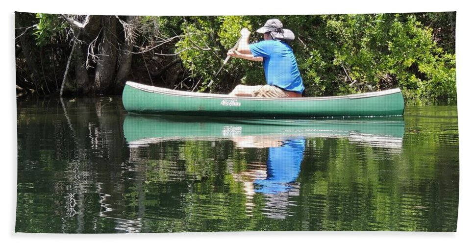 Blue Amongst The Greens Beach Towel featuring the photograph Blue Amongst The Greens - Canoeing On The St. Marks by Marilyn Holkham