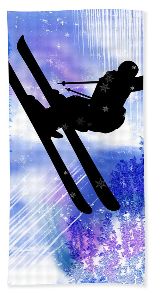 Ski Beach Towel featuring the painting Blue And White Splashes With Ski Jump by Elaine Plesser