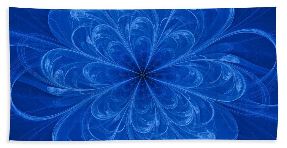 Fractal Beach Towel featuring the digital art Blue Bloom by Sandy Keeton