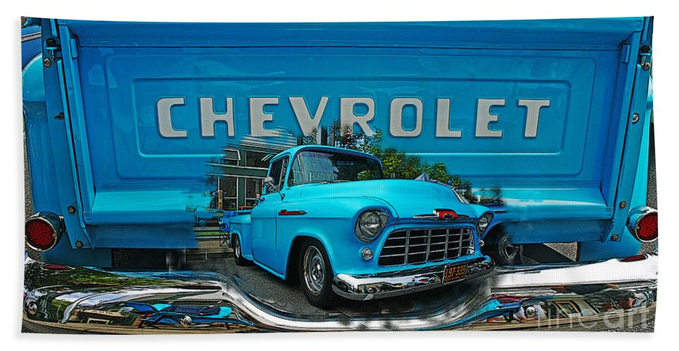 Cars Beach Towel featuring the photograph Blue Chevy Pickup Dbl. Exposure by Randy Harris