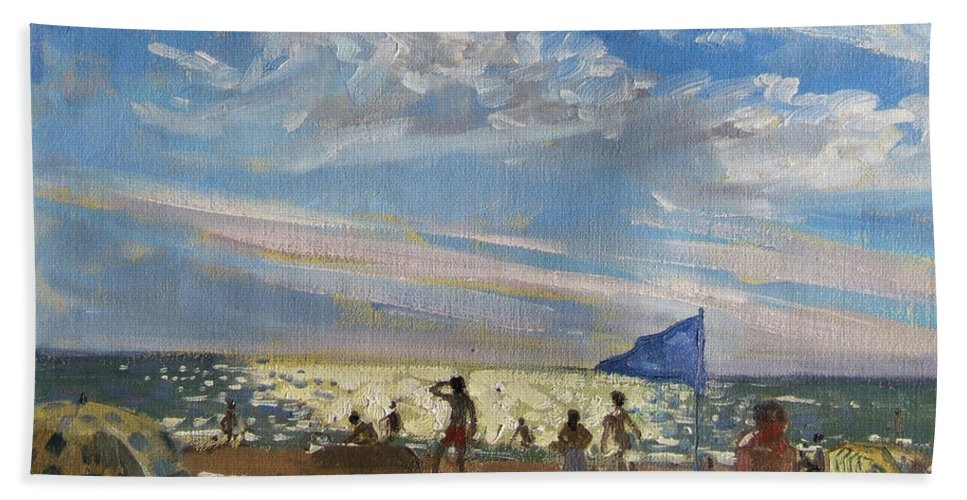 Seaside Beach Towel featuring the painting Blue Flag And Red Sun Shade by Andrew Macara