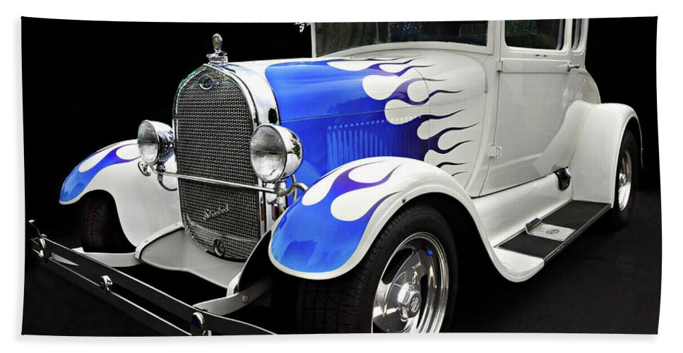 Custom Car Beach Towel featuring the photograph Blue Flames by Dave Mills