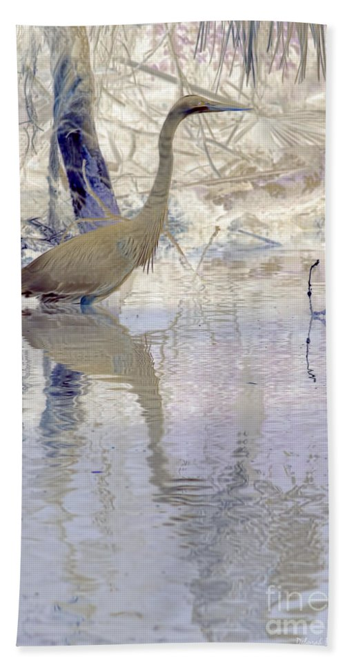 Heron Beach Towel featuring the photograph Blue Inverted by Deborah Benoit