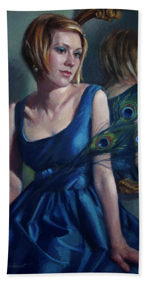 Beautiful Woman Beach Towel featuring the pastel Blue by Jean Hildebrant