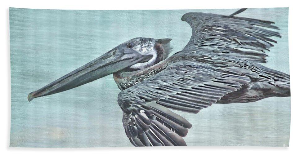 Pelican Beach Towel featuring the photograph Blue Pelican by Deborah Benoit