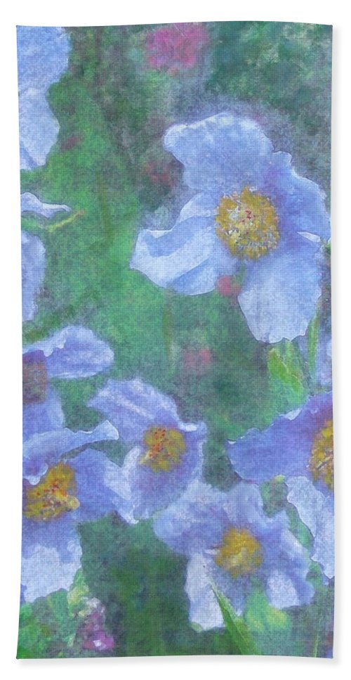 Flowers Beach Towel featuring the painting Blue Poppies by Richard James Digance