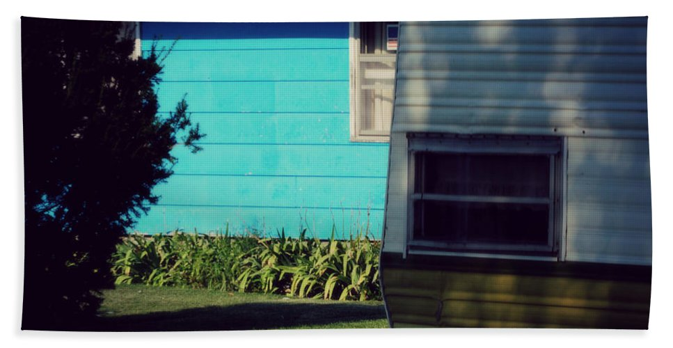 Nature Beach Towel featuring the photograph Blue Siding And Camper by Paulette B Wright