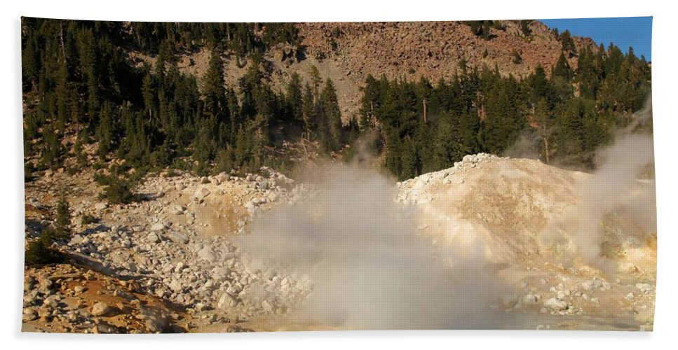 Lassen Volcanic National Park Beach Towel featuring the photograph Blue Steaming Pools by Adam Jewell