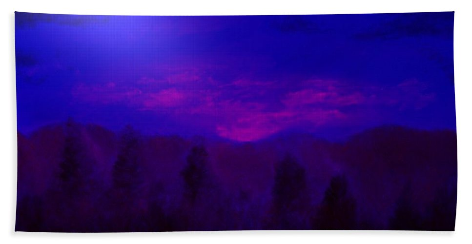 Mountains Beach Towel featuring the mixed media Blue Sunset by Melvin Moon