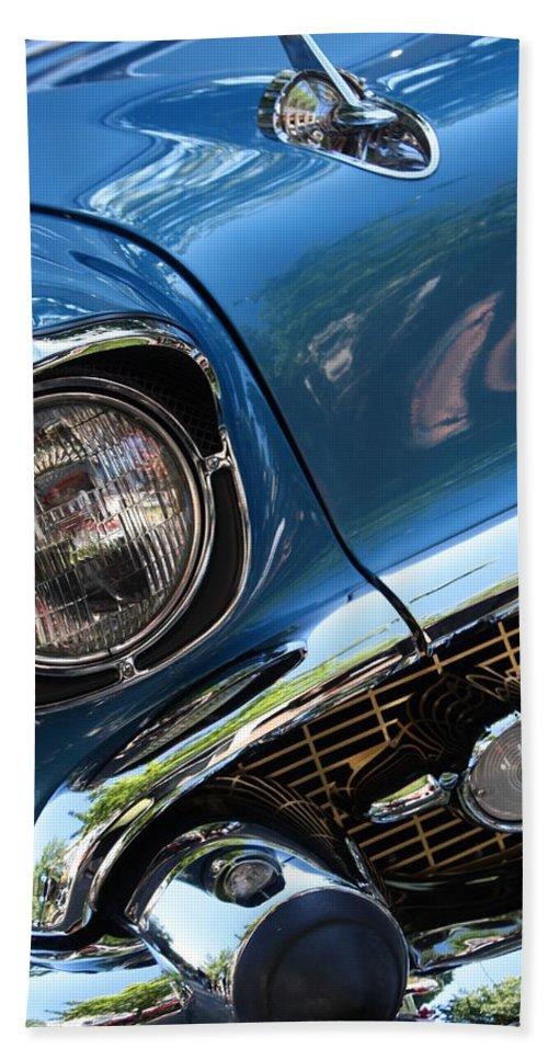Vintage Beach Towel featuring the photograph Blue Thunder - Classic Antique Car- Detail by Dora Sofia Caputo Photographic Design and Fine Art