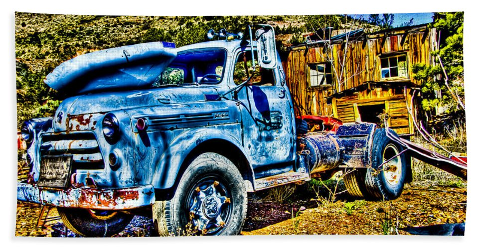 Old Truck Beach Towel featuring the photograph Blue Truck by Jon Berghoff