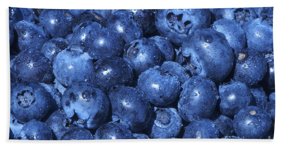 Blueberry Beach Towel featuring the photograph Blueberries With Waterdrops by Sharon Talson