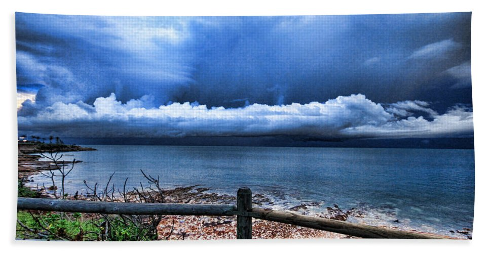 Fence Beach Towel featuring the photograph Bluer On The Other Side by Douglas Barnard