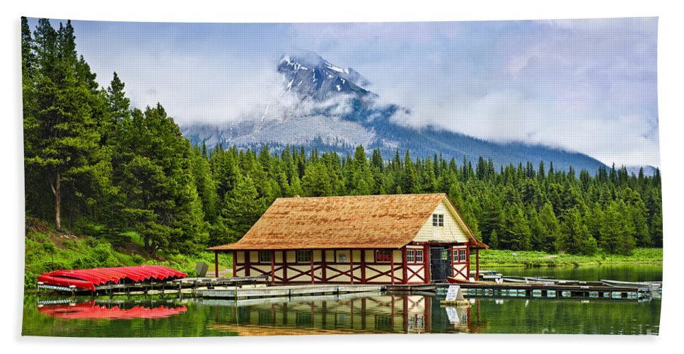 Boat House Beach Towel featuring the photograph Boathouse On Mountain Lake by Elena Elisseeva