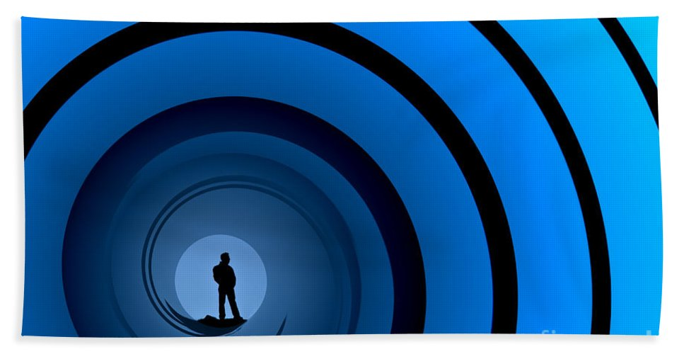 Male Silhouette Beach Towel featuring the photograph Bond Man by Steve Purnell