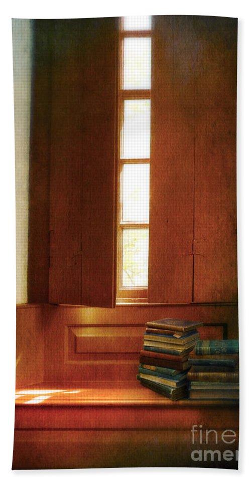 Interior Beach Towel featuring the photograph Books On A Window Seat by Jill Battaglia